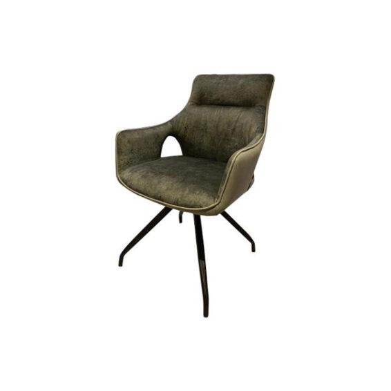 Tower Living - Eetkamerstoel Nola swivel - Green velvet 8196-20 - fabric 7501-6