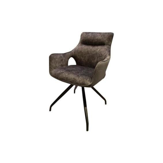 Tower Living - Eetkamerstoel Nola swivel - Grey velvet 8196-21 - fabric 7501-11