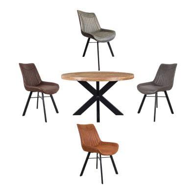 Eettafel Mango Rond Met Patron stoelen