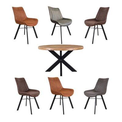 Eettafel Mango Rond Met Patron stoelen 6
